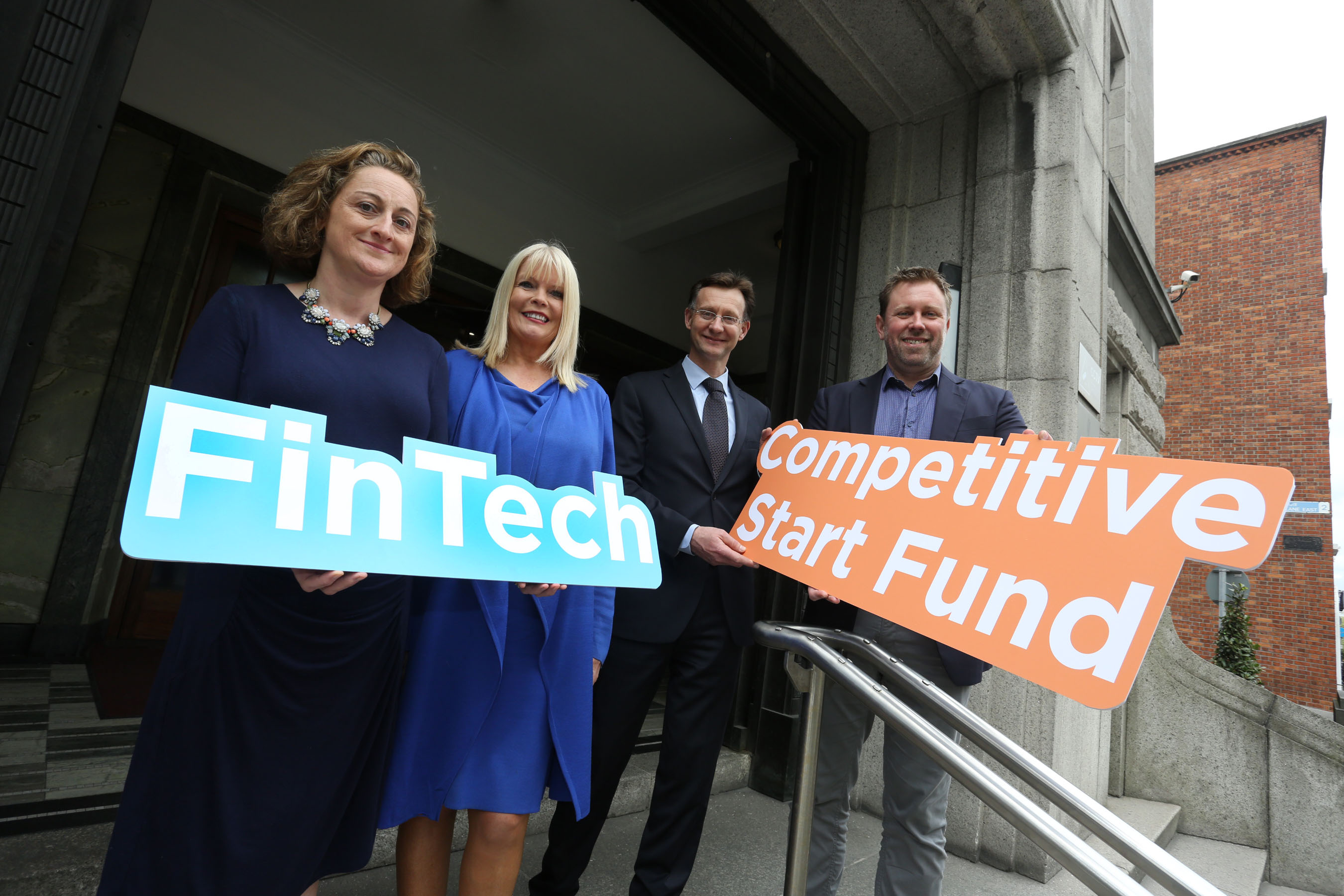 L-R: Geraldine Gibson, Managing Director, AQ Metrics; Mary Mitchell O'Connor TD, Minister for Jobs, Enterprise and Innovation; Leo McAdams, Divisional Manager ICT & International Services, Enterprise Ireland; Brett Meyers, CEO, Currency Fair
