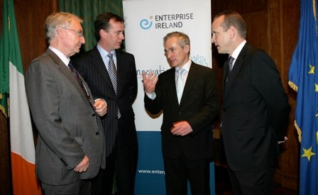 Pictured are (L-R): Des Doyle, Head of Growth Capital, Enterprise Ireland, John Flynn, Managing Director, ACT Venture Capital, Richard Bruton TD, Minister for Jobs, Enterprise and Innovation and Brendan O'Connor, Head Of Commercial Banking, AIB Bank