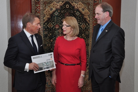 Pictured during the trade mission are (L to R): John Hughes, MD Astrotek, Minister for Trade and Development, Jan O'Sullivan, TD and Frank Ryan, CEO, Enterprise Ireland
