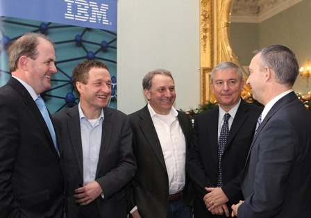 Pictured at the announcement are (l-r): Frank Ryan CEO Enterprise Ireland, John Hearne CEO Curam, Ronan Rooney, CTO Curam, Peter O'Neill, Managing Director IBM Ireland, Craig Hayman, General Manager of IBM Industry Solutions.