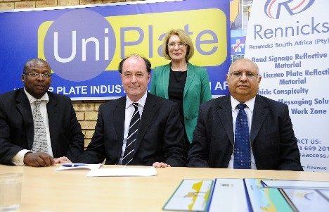 L-R are: Mr John Maloka, Sales and Marketing Director, Rennicks, Michael Flannagen, Group Managing Director, Rennicks, Minister Jan O'Sullivan TD, and Nizoo Chagan, Managing Director Uniplate