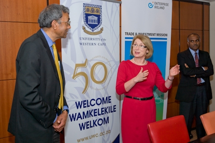 Pictured: Minister Jan O'Sullivan T.D. with Ramesh Bharuthram, Ph.D., Deputy Vice-Chancellor at the University of the Western Cape.