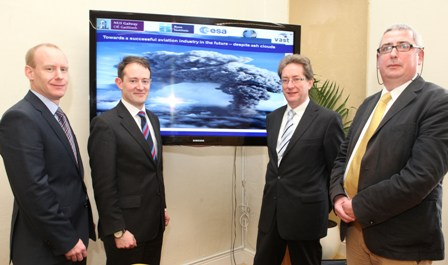 Pictured (l-r)  Dr Barry Fennell of Enterprise Ireland, Minister Sherlock,  President of NUI Galway Jim Browne and Professor Colin O'Dowd, Centre for Climate & Air Pollution Studies, NUI Galway.