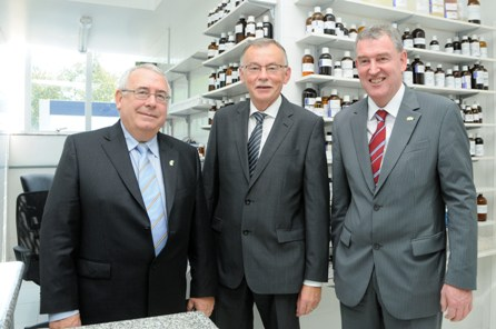 Pictured opening of the new Synergy (Carbery Group's) Laboratory and  production facility are (l-r) Minister Joe Costello TD,  Dan McSweeney, CEO of Carbery Group and Kevin Sherry, Head of International Sales and Partnering, Enterprise Ireland.