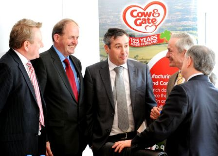 Pictured at Danone's facility in Wexford are (L-R): Donal Courtney, MD, Danone Ireland, Frank Ryan, CEO, Enterprise Ireland, Enda McDonnell, Regional Director SE, Enterprise Ireland, Minister for Jobs, Enterprise and Innovation, Richard Bruton T.D. and Minister for Public Expenditure and Reform, Brendan Howlin, TD
