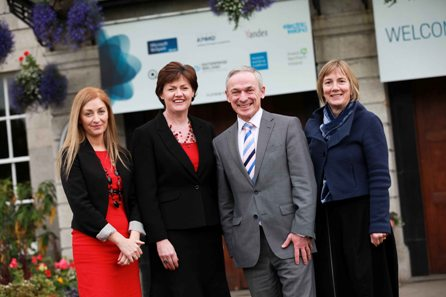 Pictured (l-r) at the launch was Leonora O'Brien, Pharmapod, Mary Kelly, Feepay, Richard Bruton TD, Minister for Jobs, Enterprise and Innovation, Julie Sinnamon, Enterprise Ireland Executive Director, Global Business Development. (Picture Conor McCabe Photography).