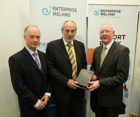 Pictured at the event are (l to r): Colm MacFhionnlaoich, Manager – Get Export Ready Unit, Enterprise Ireland, Stephen Grant, Founder & Managing Director, Grant Engineering, Birr, Co Offaly, Barry Egan, Director – West Region, Enterprise Ireland.