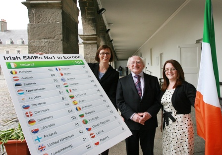 President of Ireland, Michael D.Higgins and Dr. Imelda Lambkin, Enterprise Ireland & National Director of FP7 Ireland with (right) Mary Reilly, Opsona Therapeutics, winner of an award at Ireland's Champions of EU Research in Dublin today (8th June 2012). Opsona Therapeutics is one of 104 Irish SMEs that has won funding from FP7 - Europe's €50 billion fund for research - giving Ireland the No. 1 ranking in Europe for SME participation in FP7
