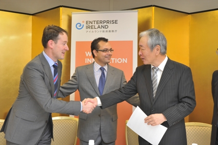 Pictured at the signing ceremony between Luxcel and Shigematsu during the Enterprise Ireland trade mission to Tokyo this week are (l-r) Minister Sean Sherlock T.D, Dr.Richard Fernandes, CEO Luxcel Bio Sciences Ltd. and Mr. Yujiro Ueda, Director Sigematsu & Co. Ltd