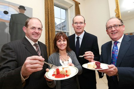 (l to r) Frank Ryan, CEO of Enterprise Ireland, Clotilde Fitzgibbon; from Clotilde's Fruit Compote – Mitchelstown Co. Cork, Minister for Agriculture, Food and the Marine, Simon Coveney TD and Martin Kelleher, Managing Director, SuperValu at the launch of Enterprise Ireland SuperValu Supplier Development Programme.