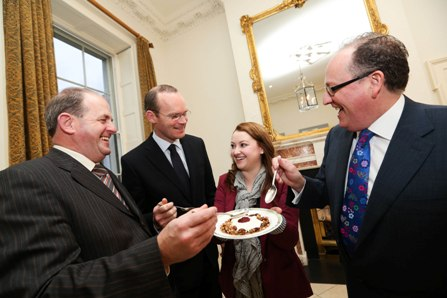(l to r)  Frank Ryan, CEO of Enterprise Ireland,  Claire Dalton from Kilbeg Dairies- Co. Meath, Minister for Agriculture, Food and the Marine, Simon Coveney TD and Martin Kelleher, Managing Director, SuperValu at the launch of Enterprise Ireland SuperValu Supplier Development Programme.