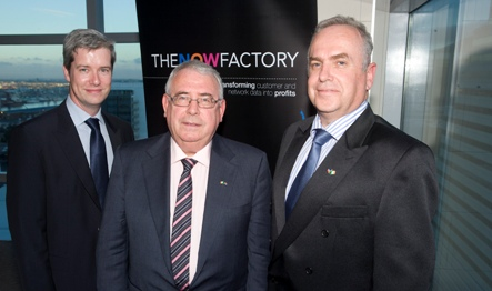 Pictured left to right are Keith Curran of the Now Factory,  the Minister for Trade and Devolopment, Joe Costello TD and Nico Fourie of Vodacom.