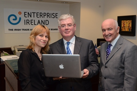 Pictured with Tanaiste Eamon Gilmore during his recent visit to the US are Niamh Bushnell of Techresources.US and Gerry Murphy, Americas Director, Enterprise Ireland