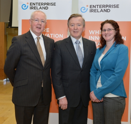 Left to Right: Pictured L to R: Barry Egan, Enterprise Ireland Director West Region; John Perry TD, Minister for Small Business and Alma Curley, CGA Software.