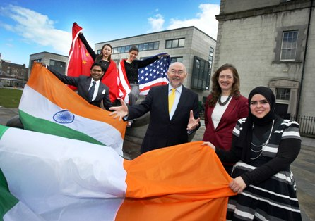 Pictured left to right: Himanshu Dadheech - Waterford Institute of Technology - India; Xia Jiao – Athlone Institute of Technology – China; Julia Daly – Trinity College Dublin - USA; Ruairi Quinn TD, Minister for Education and Skills; Marina Donohoe, Head of Education at Enterprise Ireland; Hadeel Aljazzaf – Royal College of Surgeons – Kuwait.