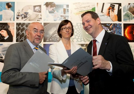 Left to Right: Minister for Education and Skills, Mr. Ruairí Quinn TD, Dr. Imelda Lambkin, National Director FP7 Enterprise Ireland and Dr. Liam Brown, Framework Programme 7, Enterprise Ireland.