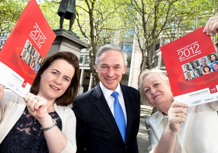 Pictured at the launch of the 2012 Global Entrepreneurship Monitor (GEM) Report for Ireland is Minister for Jobs, Enterprise and Innovation Richard Bruton TD with (left) Elaine Coughlan, Founding Partner Atlantic Bridge and Paula Fitzsimons, Report Co-Author, and National GEM Coordinator.