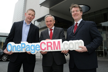 Michael FitzGerald, founder and CEO of OnePageCRM; Minister for Jobs, Enterprise and Innovation Richard Bruton, TD, Brian O'Malley, Enterprise Ireland.