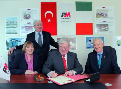 Pictured at the Opening of the PM Group's new regional office in Ankara: Left to Right:  Ms. Julie Sinnamon, Executive Director, Enterprise Ireland, Mr. Tim Hickey, PM Group, Tánaiste and Minister for Foreign Affairs, Mr. Eamonn Gilroy T.D. and Kenneth Thompson, Irish Ambassador to Turkey.