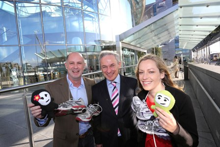 Pictured are Minister for Jobs, Enterprise and Innovation, Richard Bruton TD (centre), and SPRINT participants Tony Riley and Fionnuala Healy of Gotcha Ninjas, a cloud-based social learning rewards platform for primary schools that encourages positive behaviour in the classroom, motivates students, and engages parents