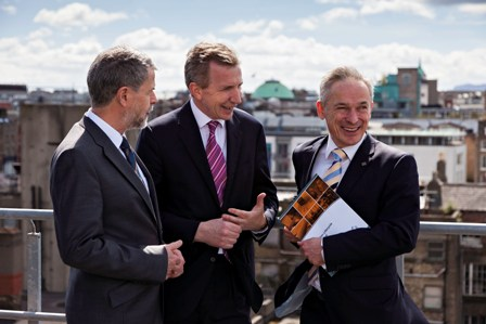Pictured at the announcement at Storm Technology's Dublin office are (L-R): Jim Cuddy, Manager - Finance and Enterprise Software, Enterprise Ireland; Karl Flannery, CEO, Storm Technology; Richard Bruton TD, Minister for Jobs, Enterprise and Innovation.