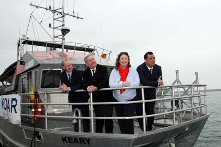 Irish SME TechWorks Marine Secure €670,000 ESA Contract, pictured L-R: Dr Barry Fennell, Enterprise Ireland, Minister Pat Rabbitte, Communications, Energy and Natural Resources, Charlotte O'Kelly, TechWorks Marine and Dr Gordon Campbell, ESA.