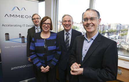 Pictured at the announcement are Joe Cunnigham Chairman, Ammeon; Jennifer Condon, Enterprise Ireland Manager Internationally Traded Services, Software and Public Procurement; Richard Bruton TD, Minister for Jobs, Enterprise and Innovation; Fred Jones, Ammeon's CEO.