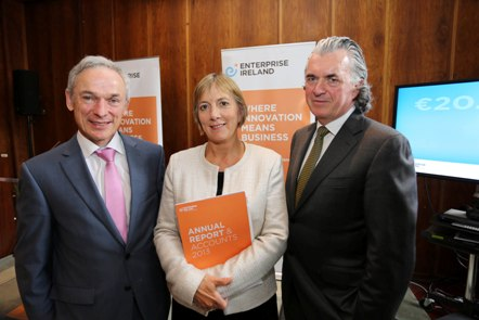 Pictured at the launch of Enterprise Ireland's Annual Report and Accounts for 2013 (Thursday 10 July 2014) are Richard Bruton TD, Minister of Jobs, Enterprise and Innovation, Julie Sinnamon, Chief Executive Officer, Enterprise Ireland and Terence O'Rourke, Chairman, Enterprise Ireland.