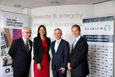 L-R: Niall O'Donnellan, Enterprise Ireland Head of Policy, HR and Investment; Sinead Heaney, founding Director of BDO Development Capital Fund; Minister for Jobs, Enterprise and Innovation Richard Bruton TD and Justin Keatinge, founder Version 1