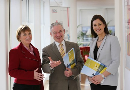 Pictured L-R: Julie Sinnamon, CEO, Enterprise Ireland, Minister for Jobs, Enterprise and Innovation, Richard Bruton TD and Sinead Heaney, Founding Director of the BDO Development Capital Fund (Photo by Gary O' Neill)