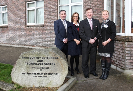 Enda McDonnell, Regional Director of South and South East Enterprise Ireland, Fiona Nolan, Business Development Manager Northside Enterprise Centre, Minister John Perry for Small Business & Angela Tynan, Business Development Manager Nutgrove Enterprise Centre