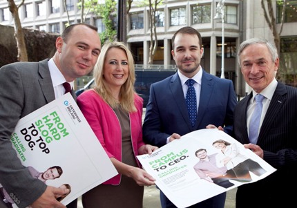 Left to right: Justin Conboy, CEO DRS Drag Reduction Systems, Sarita Johnston, Manager Graduate CSF Programme Enterprise Ireland Minister for Jobs Enterprise and Innovation Richard Bruton TD and Myles Murray CEO PMD Solutions Ltd. At the launch of Enterprise Ireland's New Graduate Competitive Start Fund
