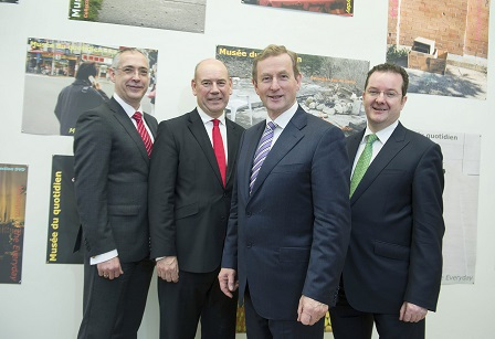 Taoiseach Enda Kenny launching the GRCTC with (l-r) Gearoid Mooney, Research & Innovation Manager, Enterprise Ireland, Peter Cowap, GRCTC Centre Director and Kieran Donoghue, Head of International Financial Services IDA Ireland.