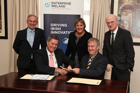 L-R: Richard Bruton TD, Minister for Jobs, Enterprise and Innovation; Greg Pullen, CEO, Catholic Homes; Julie Sinnamon, CEO, Enterprise Ireland; Paul Mooney, COO, HealthComms and Ireland's Ambassador to Australia, H.E. Noel White