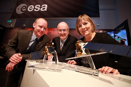 Pictured at the ESA exhibit at the Innovation Showcase in Dublin were Barry Fennell, Enterprise Ireland; Prof. Mark Ferguson, Director General, SFI and Juie Sinnamon, CEO, Enterprise Ireland.