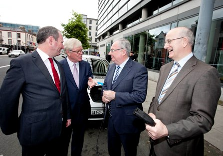 Pictured at the launch are Dr Brian Motherway, Chief Executive of SEAI, John McSweeney, Head of Innovation at ESB, Minister for Communications, Energy and Natural Resources, Mr Pat Rabbitte T.D. and Tom Kelly, Divisional Manager at Enterprise Ireland.
