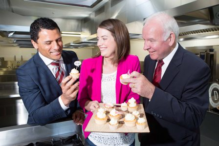 Pictured at the Enterprise Ireland Student Entrepreneur Awards 2014 are l to r: Dough Howlett, Munster Rugby and winner of the 2014 Awards Alex Milne from University of Ulster with her project Little Deli and Tom Hayes, Enterprise Ireland