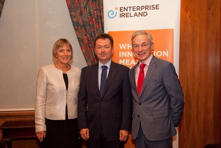 L-R: Julie Sinnamon, CEO, Enterprise Ireland; Alan Phelan, CEO, Sourcedogg and Minister for Jobs, Enterprise and Innovation, Richard Bruton TD