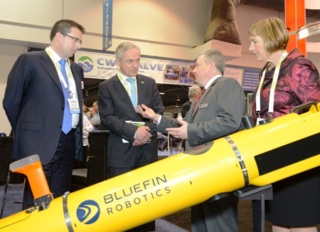 Pictured left to right: Adrian Boyle, CEO, Cathx Ocean; Richard Bruton TD, Minister for Jobs, Enterprise and Innovation; David Kelly, CEO, Bluefin Robotics; Julie Sinnamon, CEO, Enterprise Ireland