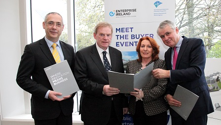 Left to right: Gearoid Mooney, Director, R&I Unit, Enterprise Ireland; Jim Curran, Head of Estates, HSE; Kathleen Lynch TD, Min.of State for Primary & Social Care; Brian Murphy, CEO Nat. Dev. Finance Agency.