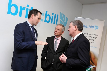 Pictured at the announcement today were Alan Coleman, CEO, Brite:Bill, Richard Bruton TD, Minister for Jobs, Enterprise and Innovation and Kevin Sherry, Enterprise Ireland Head of International Sales and Partnering.