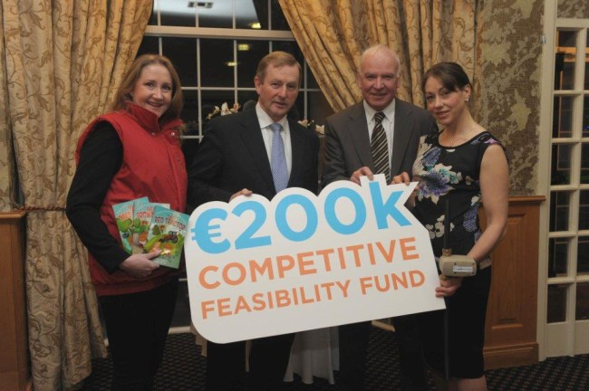 L-R: Alma Jordan AgriKids;  An Taoiseach Enda Kenny; Tom Hayes, Enterprise Ireland; Emer Cooney of HydraSure