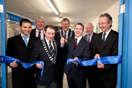 At the official opening of ENBIO's Space Technology Centre in Clonmel on 14th April were (front l-r); Yves Bonnefous, ESA; Martin Donnellan, Mayor of Clonmel; Damien English T.D. Minister for Skills, Research & Innovation; John O'Donoghue CEO ENBIO; (back) Tom Hayes T.D; Michael Fitzgerald Chair Tipperary County Council and Tony McDonald Enterprise Ireland