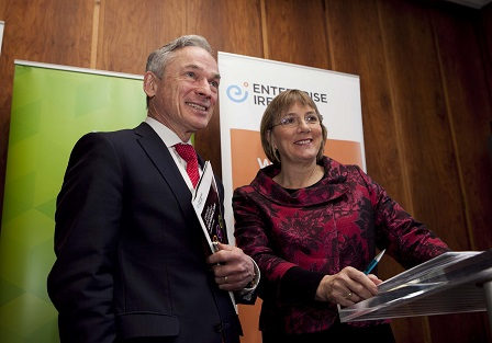 Pictured at the announcement are Minister for Jobs, Enterprise and Innovation Richard Bruton TD and Julie Sinnamon, CEO Enterprise Ireland.