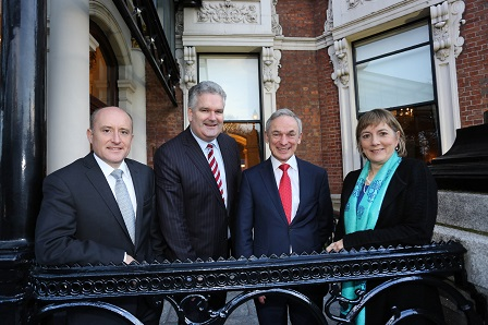 Pictured at the announcement were Aidan King, Joint Managing Partner, Fountain Healthcare, Manus Rogan, Joint Managing Partner, Fountain Healthcare, Minister Richard Bruton, T.D and Julie Sinnamon, CEO, Enterprise Ireland.