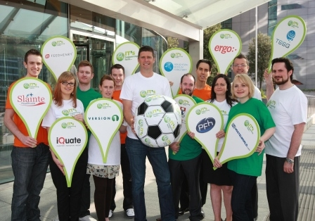 Niall Quinn is pictured with some of the 600 Irish-owned software companies promoting the new IT's Happening Here initiative