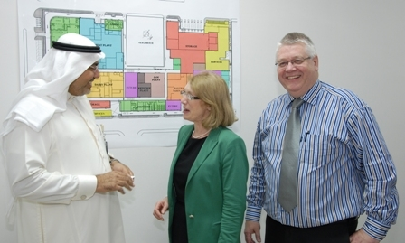 Pictured L to R are:  Mohammad Kamal Salah, Halwani Bros Director of Projects, Minister for Trade and Development Jan O'Sullivan, TD, and Tom Purcell, PM Group Project Manager
