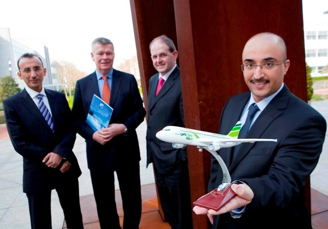 L-R: Capt. Yousif Al Shingaiti, Director of Training (A) Embraer Training Manager, Nas Air, Capt. Mike Edgeworth, Group Executive Chairman, Pilot Training College, Waterford , Frank Ryan , CEO Enterprise Ireland and Bander Al Dabaan, Director HR, Nas Air
